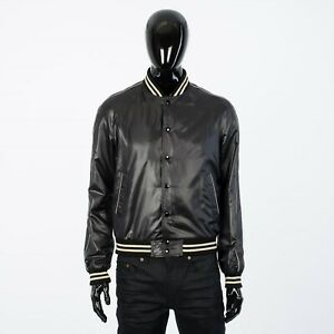 CELINE-HOMME-1250-Lightweight-Nylon-Teddy-College-Jacket-In-Black