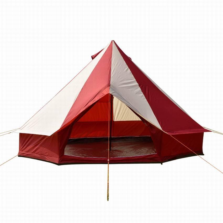 5 Meter 5M Bell Tent Burgundy straps ZIG Zipped in G.Sheet CAMPING Mesh Door