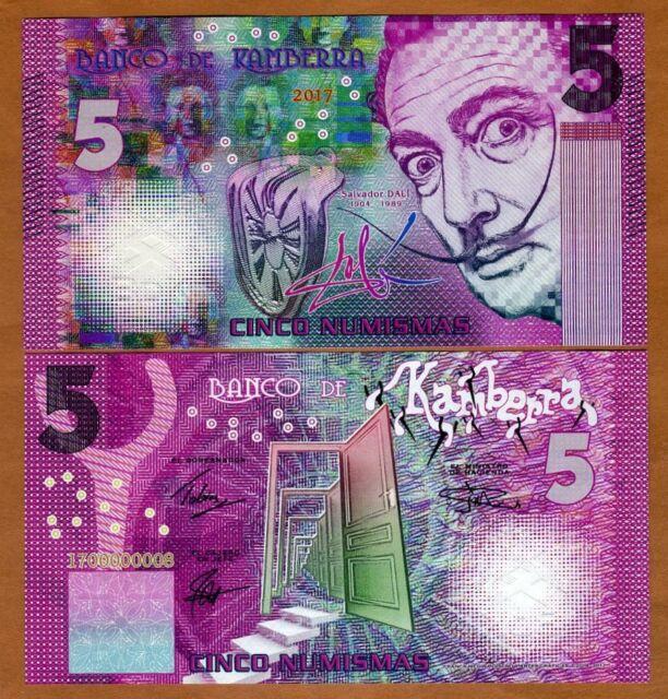Kamberra, 5 Numismas, 2017, UNC > Purple, Salvador Dali, New Color
