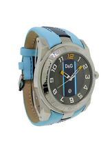Dolce & Gabbana Time DW0217 Men's Round Date Blue Leather Analog Watch