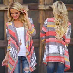 Womens Long Sleeve Waterfall Cardigan Knitwear Jumpers Sweater ...