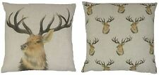 """EVANS LICHFIELD STAG DEER REVERSIBLE LINEN BLEND MADE IN UK CUSHION COVER 17"""""""
