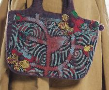 RISING TIDE Applique Brown Felted Wool Handbag Shoulder Bag Purse  *H403C*   NWT