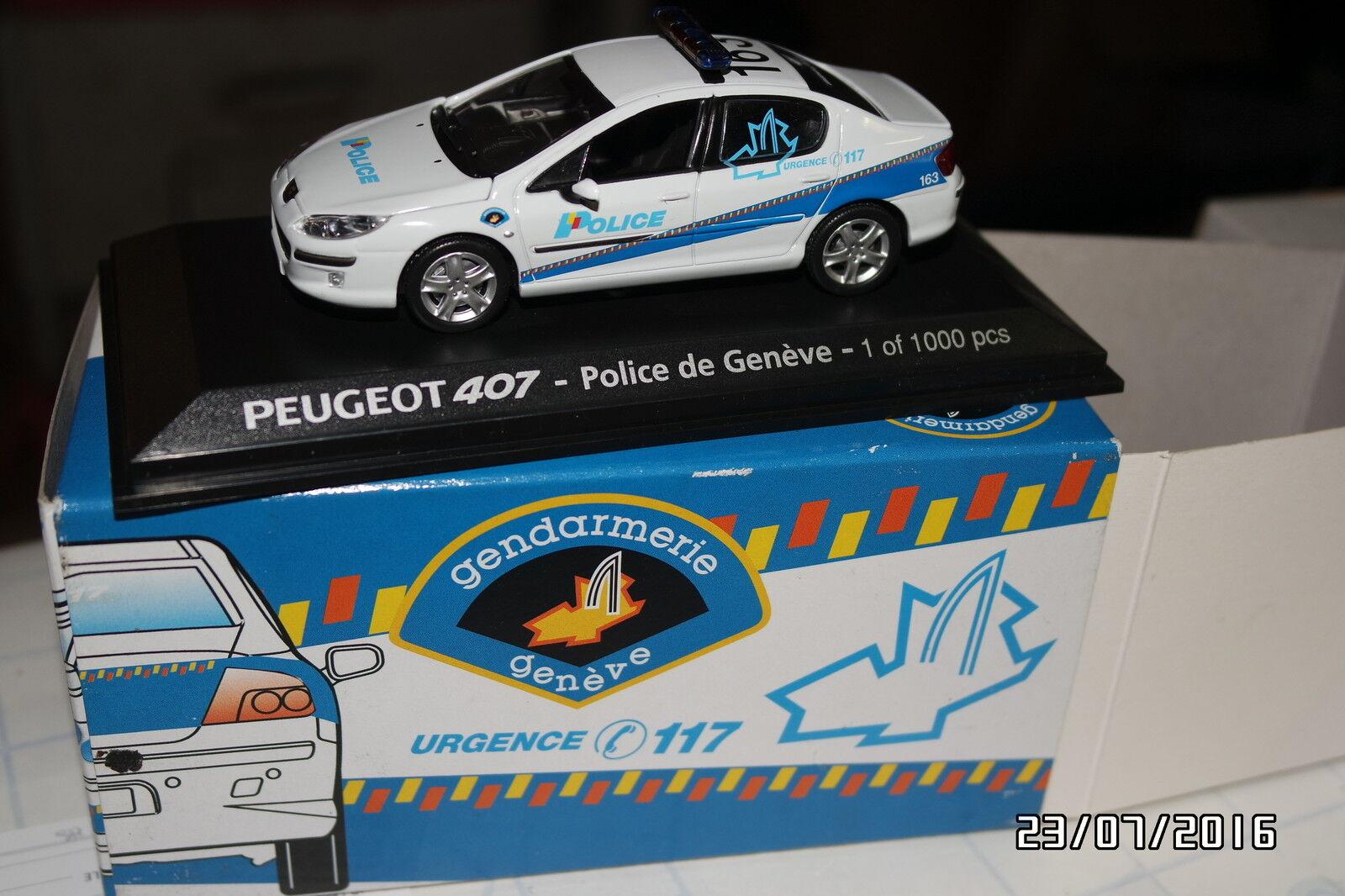 Peugeot 407 police geneve norev 474741 ed limitee 1000 p. new box
