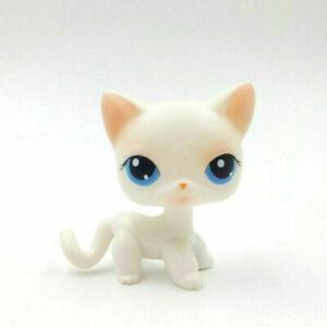 Littlest Pet Shop Figures LPS 64 White Pink Cat Blue Eyes Kitty Kitten RARE  Toys