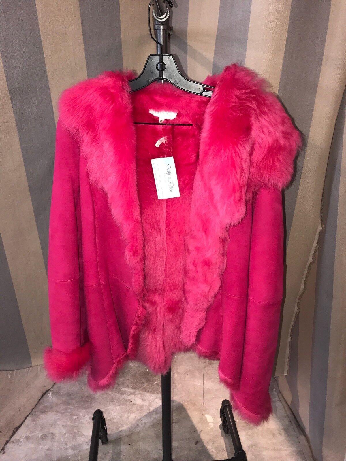 Escada Pink Lamb Skin Fur Coat Size 40