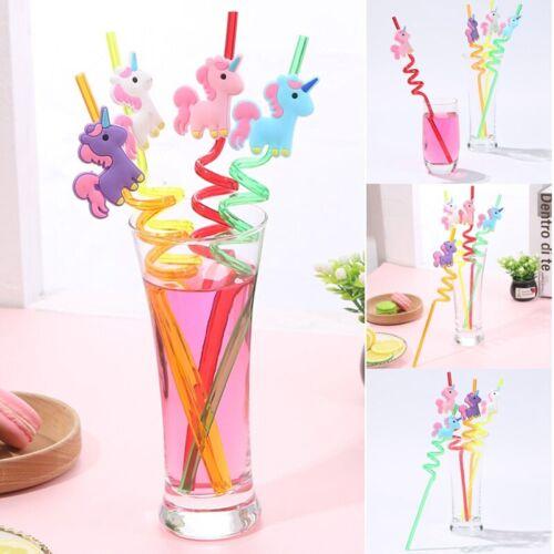 Novelty Pack Of 4PC Animal Unicorn Crazy Curly Straws Coloured Twisty Kids HHH!