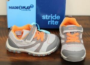 NEW-Stride-Rite-GRAY-COLLIN-SNEAKERS-sz-4-4-5-W-Wide-Toddler-Boys-Shoes