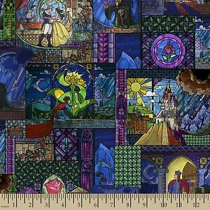 Disney-Beauty-amp-The-Beast-Stained-Glass-100-Cotton-Fabric-Remnant-30-034