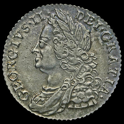 1758 George II Early Milled Silver Shilling, Near EF