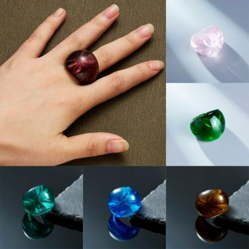 New Charm Lampwork Murano Glass Handmade Rings 7-10 Size Smudged Color Statement