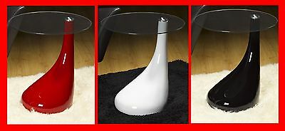 BLACK WHITE RED GLASS SIDE END LAMP COFFEE TABLE MODERN DESIGNER