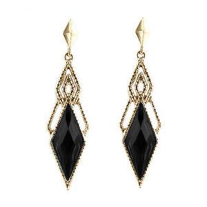 Vintage-Style-Gold-amp-Black-Luxury-Long-Drop-Stud-Earrings-E994