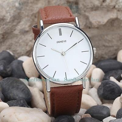 Silver  Dial Watches Casual Women Men Leather Strap Quartz Wristwatch Unisex