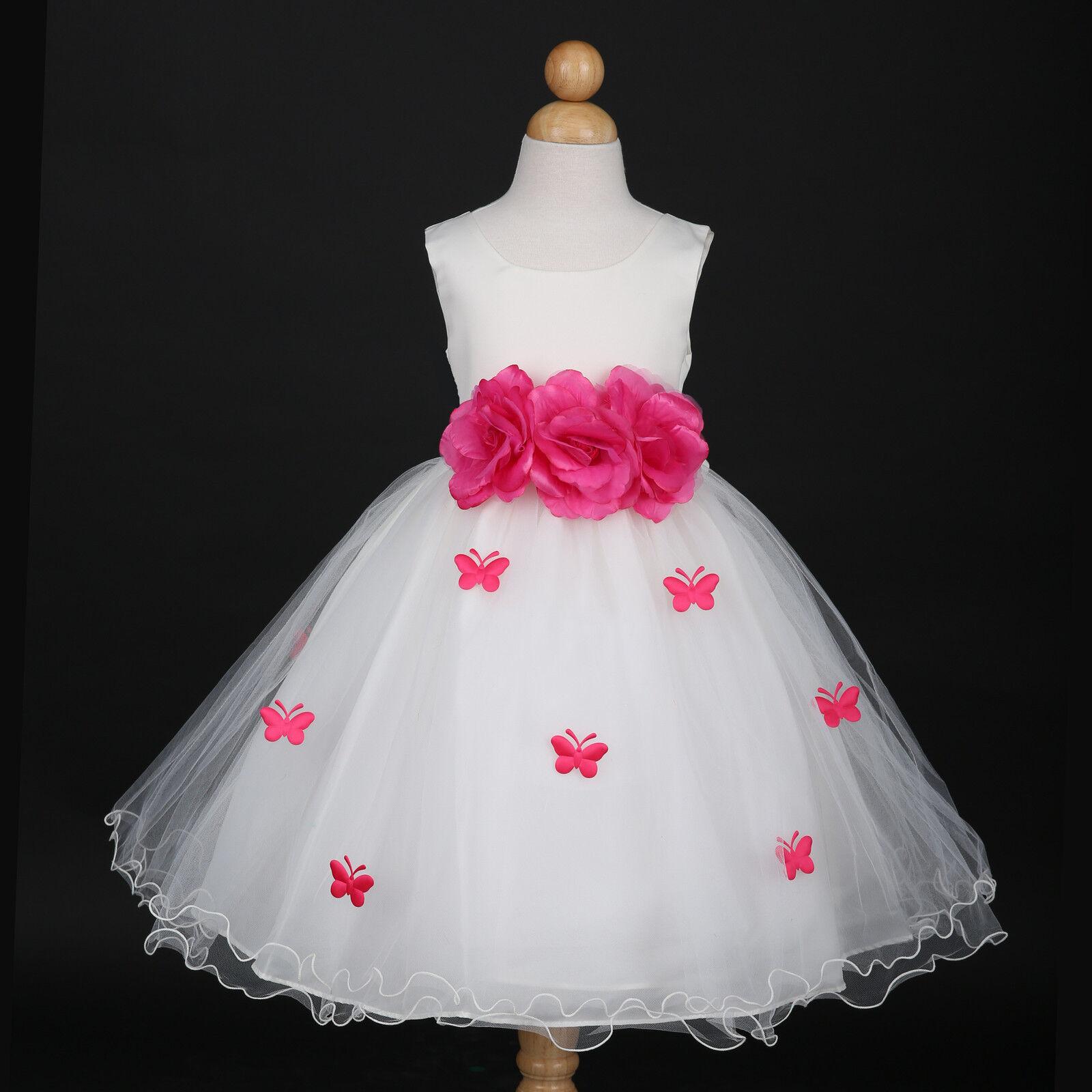 Ivory/Fuchsia Hot Pink Petals Wedding Flower Girl Dress 6M 12M 18M 2 3/4 6 8 10