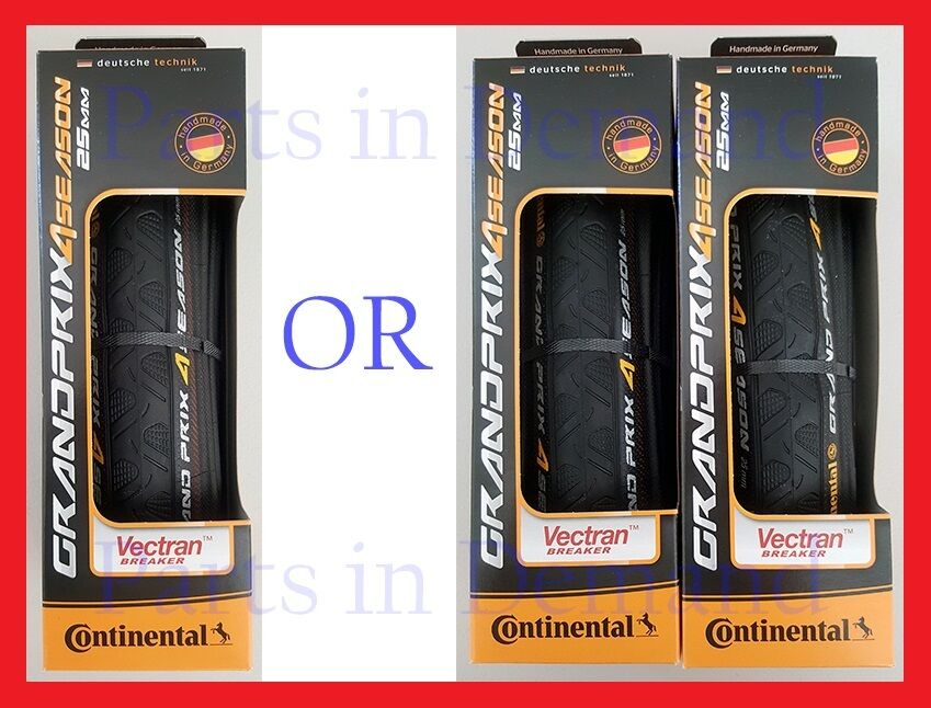 1 or 2  Continental Grand Prix 4 Season Bike Tire 700 x 23 25 28 32 mm NEW IN BOX  unique shape