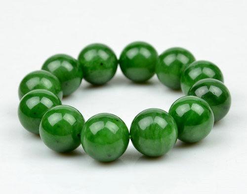 A Grade Natural Green Nephrite Jade 18mm Beads Bracelet w// certificate