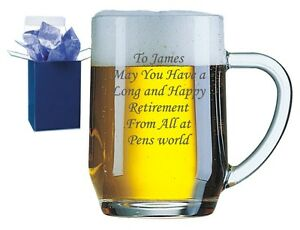 Personalised Engraved Glass Tankard Wedding Father Of The Groom Free Gift Box RH