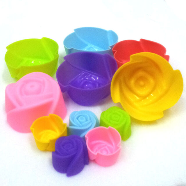 Rose silicone baking mold cup cake muffin jelly dessert chocolate soap party
