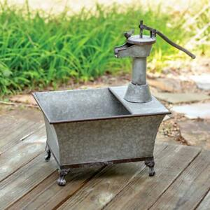 Water-Pump-Planter-Galvanized-Metal-Unique-Rustic-Vintage-Look