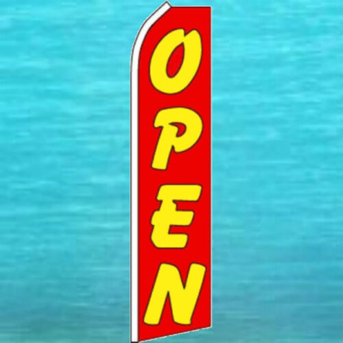 OPEN Red FLUTTER FLAG Tall Curved Top Feather Swooper Advertising Sign Banner
