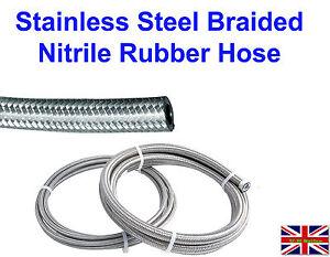 6mmx1MTR Nitrile Rubber Stainless Steel Braided Hose Fuel Diesal Petrol