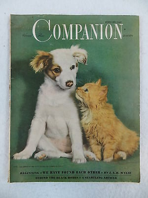 Vintage WOMAN'S HOME COMPANION  February 1948 Puppy Dog Kitten Cat Cover