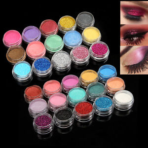 Beauty Essentials Qibest 30 Color Glitter Powder Eyeshadow Cosmetics Colorful Party Makeup Sexy Lips Eye Loose Metal Eye Shadow Blue Silver