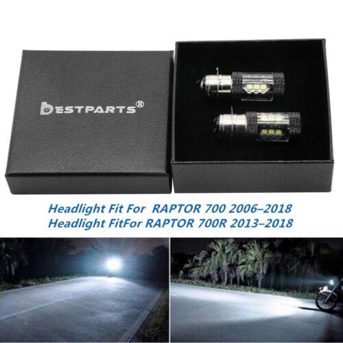 2x H6M LED Headlight For Yamaha Raptor 700 700R 2006-2018 100W 6000K White
