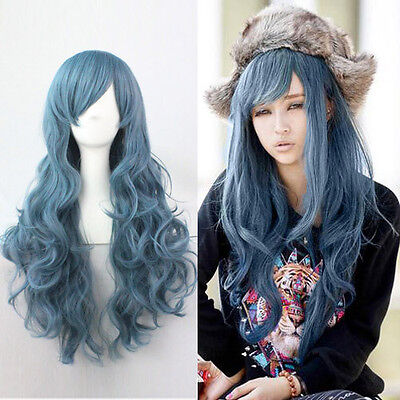 Hot Sexy Women's Lady Blue Long Curly Wavy Hair Harajuku Full Wig Cosplay Party