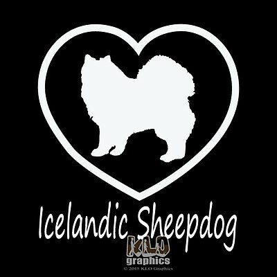I Love My ICELANDIC SHEEPDOG Vinyl Sticker / Decal AKC Registered Pet Dog