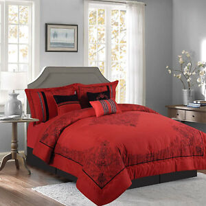 Details about New Elegant Red White Purple Black Floral 7 pcs Cal King  Queen Comforter Set