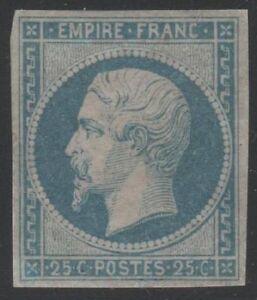 FRANCE-YVERT-15-SCOTT-17-034-EMPEROR-NAPOLEON-25c-BLUE-1853-034-MH-VF-SIGNED-C863