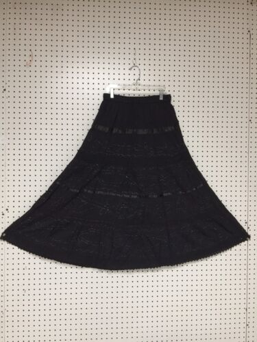 100/% Cotton Petite Boho Lace Trim Embroidered Tiered Peasant Sweep Skirts NWT