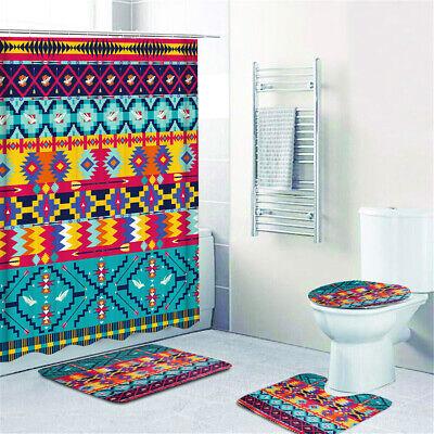 Bohemia Style Printing Bathroom Shower Curtain Toilet Cover Mat