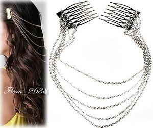 Accessoire cheveux peigne et chaîne argenté- mariage- cérémonie bijoux fantaisie 05z8iCVf-07170115-466617803