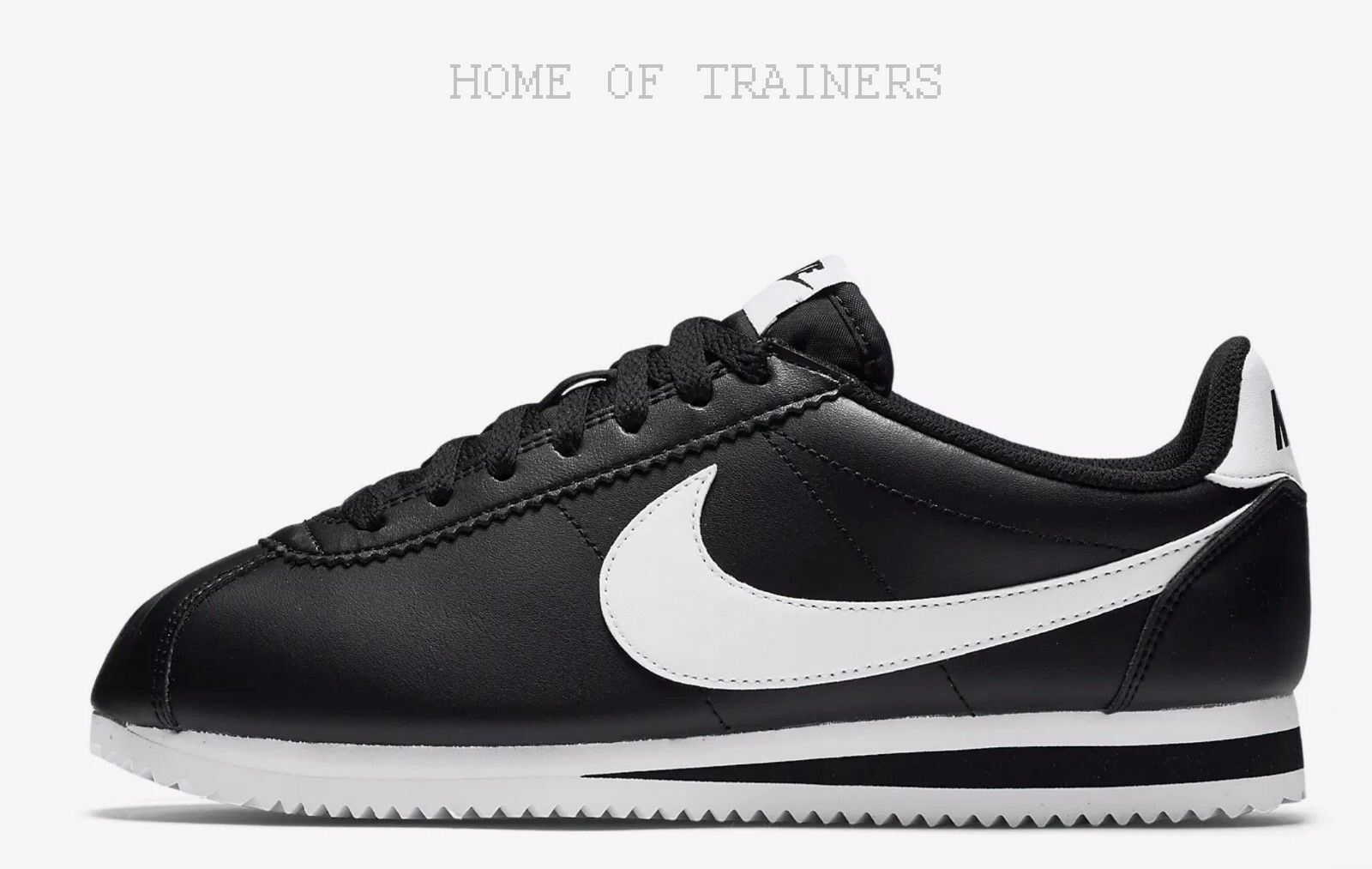Nike Classic Cortez Black White White White White Girls Women's Trainers All Sizes 06e7eb
