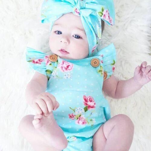 Baby Girl Fashion Sleepwear Newborn Flower Dot Printed Jumpsuit Bodysuit Romper