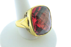 Sajen-Bronze-Ring-by-Marianna-and-Richard-Jacobs-Square-Shape-Red-Quartz-Triplet
