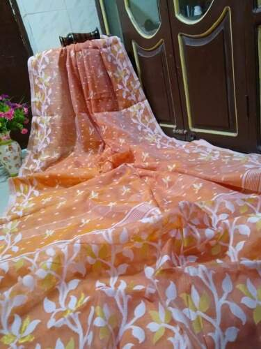 Orange Designer jamdani sarees handwork Pooja collection West Bengal
