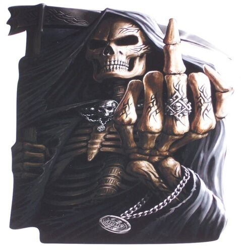 Middle Finger Grim Reaper skull Window Decal decals Sticker Jeep 4x4 Skulls