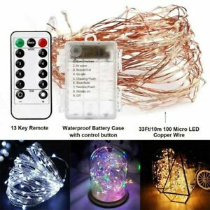 Remote-Control-50-100-200LED-String-Lights-8-Modes-Waterproof-Battery-Fairy-Xmas