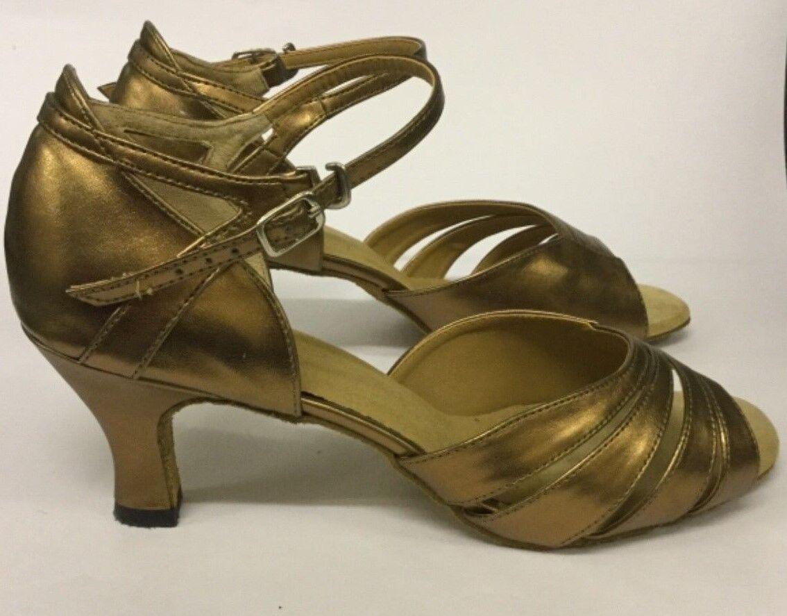 """BROOKE Bronze Ballroom Shoes -Roch Valley - 2"""" heel in Sizes 4, 4.5 & 7.5 & Bag"""