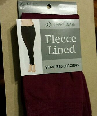 2 LOVE /& CHARM BLACK FLEECE LINED TEXTURED SEAMLESS LEGGINGS ~ SIZE S//M 4-6