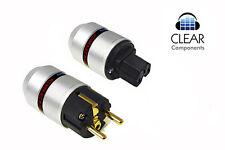 Alu red Schuko + frío dispositivos enchufe-IEC power plug BL - 24k dorado-oro-gama alta