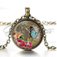 1PC Vintage Bronze Butterfly Clock Flowers Pendant Glass Cabochon Chain Necklace