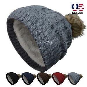 1dbc22c6578 Thick POM-POM Knit Slouchy Baggy Beanie Oversize Winter Hat Ski Cap ...
