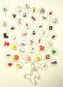42-Vintage-PLASTIC-Kids-NOVELTY-Animals-Dogs-OBJECTS-CLOTHING-BUTTONS