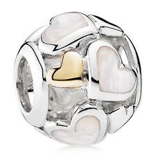 New Genuine 925 Silver & 14ct Gold PANDORA Luminous Heart Charm