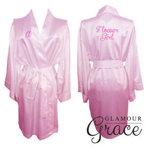 Children-039-s-PINK-kids-flower-girl-satin-dressing-gown-robe-bridesmaid-bride